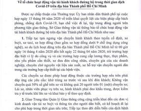THÔNG BÁO CỦA SỞ GTVT VỀ VẤN ĐỀ LIÊN QUAN ĐẾN COVID-19