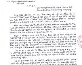 CÔNG VĂN CỦA SỞ GTVT NGÀY 14/04/2020